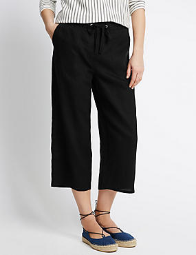 Pure Linen Wide Leg Cropped Trousers