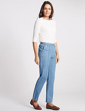 Pull on Mid Rise Slim Leg Jeans