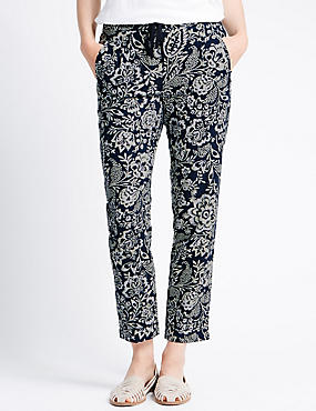 Linen Blend Tapered Leg Floral Trousers