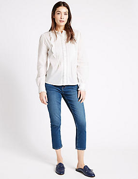 Mid Rise Cropped Super Skinny Leg Jeans