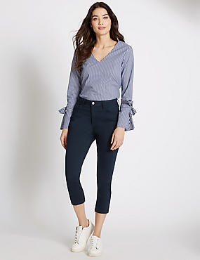 Mid Rise Cropped Skinny Leg Jeans