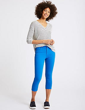 Mid Rise Super Skinny Leg Cropped Jeans , BRIGHT BLUE, catlanding