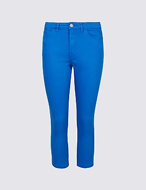 Mid Rise Super Skinny Leg Cropped Jeans , BRIGHT BLUE, catlanding
