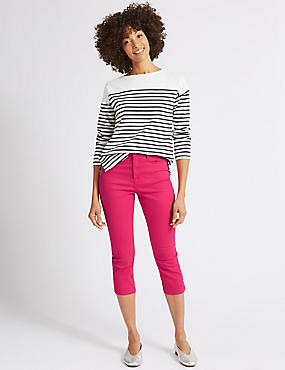 Mid Rise Super Skinny Leg Cropped Jeans , HOT PINK, catlanding