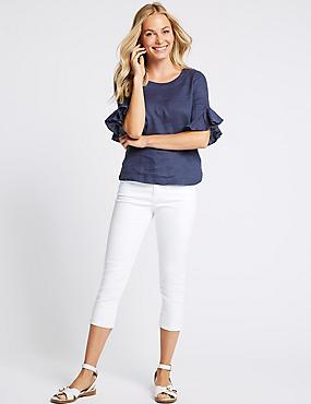 Mid Rise Super Skinny Leg Cropped Jeans , SOFT WHITE, catlanding