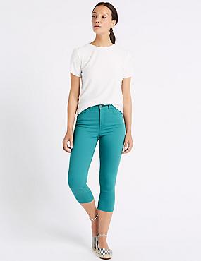 Mid Rise Super Skinny Leg Cropped Jeans , JADE, catlanding