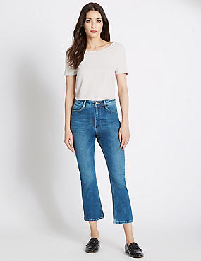 Flared Mid Rise Cropped Jeans