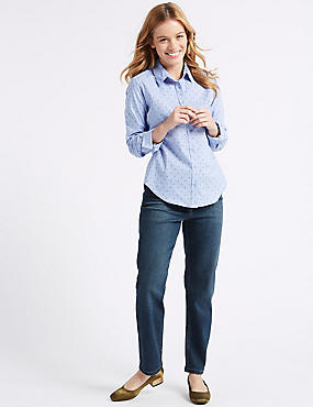 PETITE Mid Rise Ankle Straight Leg Jeans