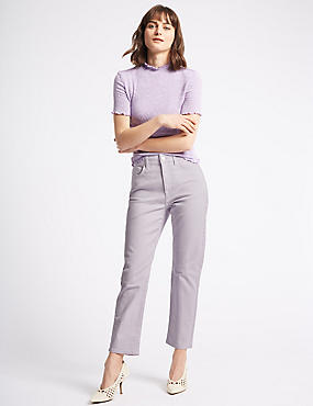 Straight Ankle Grazer Jeans, LILAC, catlanding