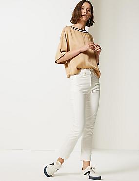 Straight Ankle Grazer Jeans, ECRU, catlanding