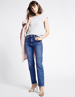 Straight Ankle Grazer Jeans, MEDIUM INDIGO, catlanding