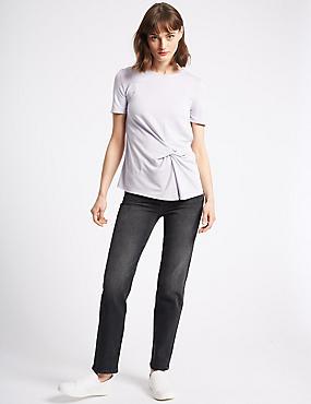 Straight Ankle Grazer Jeans, MEDIUM GREY, catlanding
