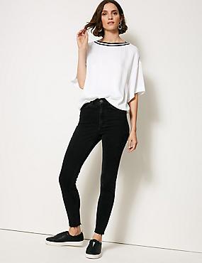High Rise Skinny Leg Jeans , BLACK, catlanding