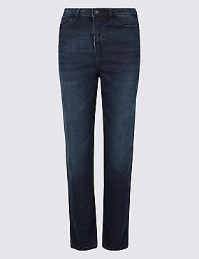 High Rise Straight Leg Jeans , BLUE/BLACK, catlanding