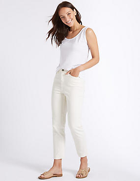 High Rise Ankle Straight Jeans , ECRU, catlanding
