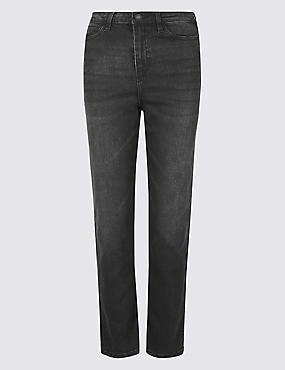 High Rise Straight Leg Jeans , GREY, catlanding