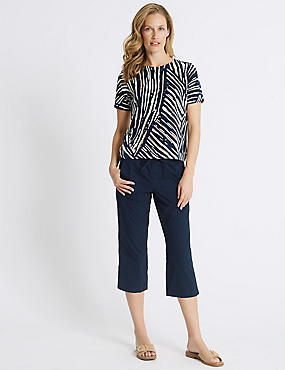 Pure Cotton Cropped Trousers, NAVY, catlanding