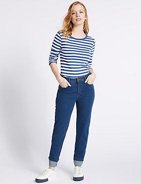 PETITE Mid Rise Straight Leg Jeans, MEDIUM INDIGO, catlanding