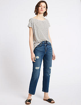 High Waist Straight Leg Jeans , INDIGO, catlanding