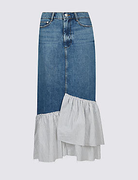 Pure Cotton Striped Frill Denim Midi Skirt , MEDIUM BLUE, catlanding