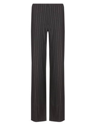 Pinstripe Wide Leg Trousers Clothing