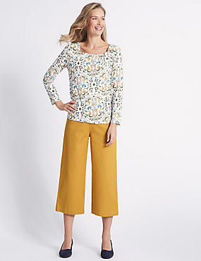 Cotton Rich Cropped Flared Trousers , ANTIQUE GOLD, catlanding