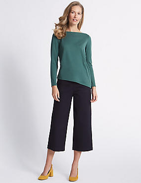 Cotton Rich Cropped Flared Trousers , NAVY, catlanding