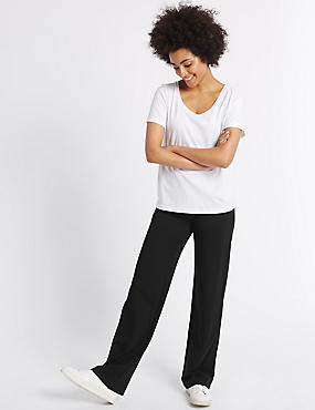 Flat Front Straight Leg Trousers