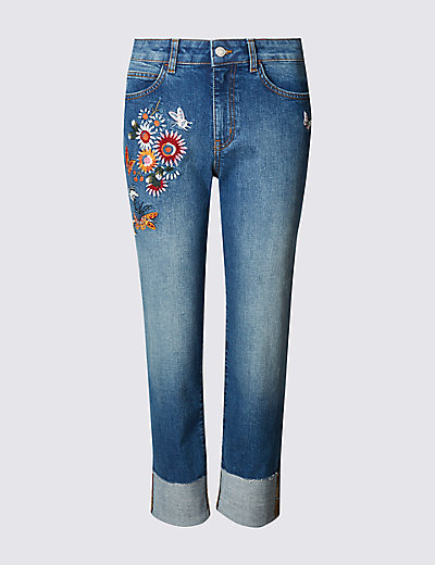Embroidered straight leg cropped jeans m s