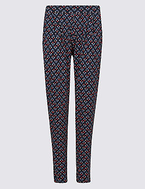 Floral Print Tapered Peg Trousers , NAVY MIX, catlanding