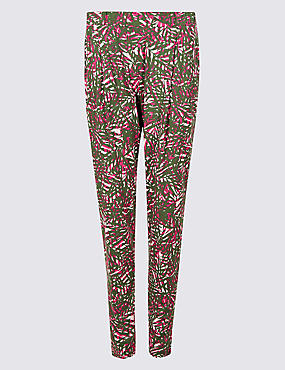 Leaf Print Mid Rise Tapered Peg Trousers, PINK MIX, catlanding