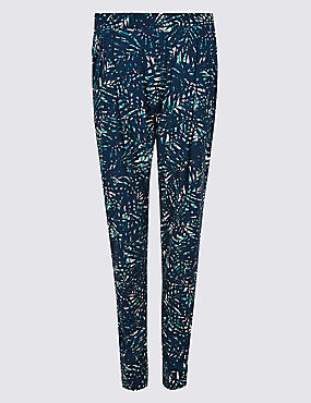 Leaf Print Mid Rise Tapered Peg Trousers, GREEN MIX, catlanding