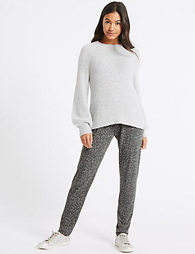 Printed Tapered Leg Trousers