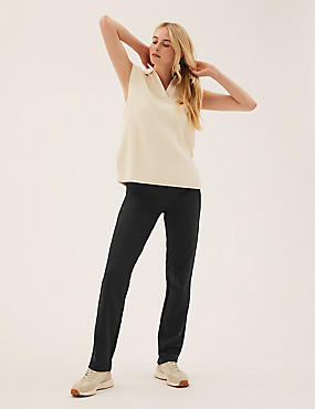 Cotton Rich Straight Leg Joggers, BLACK, catlanding
