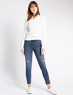 Ripped Skinny Leg Frayed Jeans