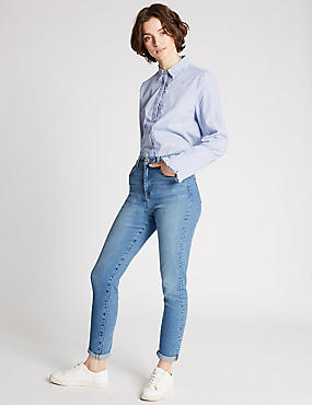 High Rise Ankle Grazer Mom Jeans