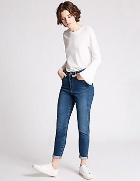 High Rise Slim Leg Mom Jeans