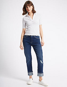 Relaxed Slim Mid Rise Jeans , DARK BLUE MIX, catlanding