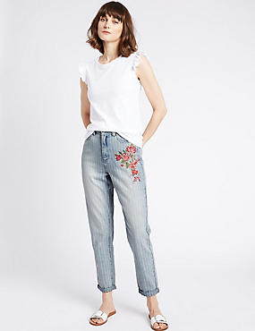 Floral Embroidered High Rise Mom Jeans