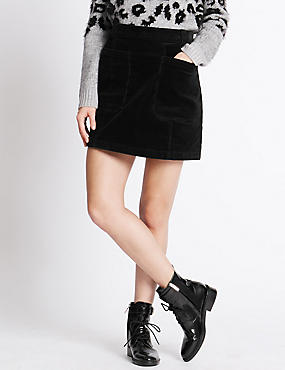Cotton Rich Cord Mini Skirt with Buttonsafe™