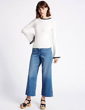 High Rise Cropped Slim Bootcut Jeans
