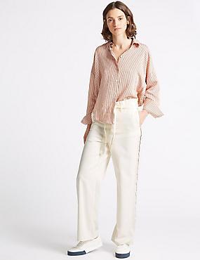 Pure Cotton Wide Leg Trousers , MUSHROOM, catlanding