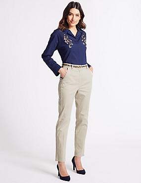 Cotton Rich Slim Leg Chinos, NATURAL, catlanding