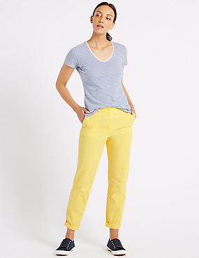 Pure Cotton Tapered Chinos, YELLOW, catlanding