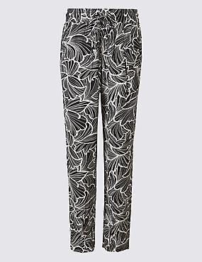 Floral Print Tapered Peg Trousers , BLACK MIX, catlanding