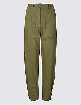 Cotton Rich Peg Trousers, KHAKI, catlanding