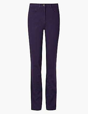 Cotton Rich Stretch Straight Leg Trousers, DEEP PURPLE, catlanding