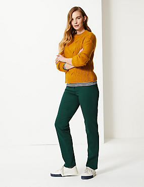 Cotton Rich Stretch Straight Leg Trousers, BOTTLE GREEN, catlanding