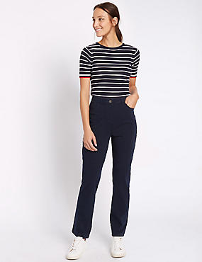 Cotton Rich Stretch Straight Leg Trousers, NAVY, catlanding