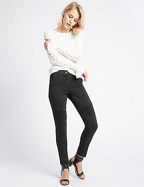 Cotton Rich Biker Skinny Leg Trousers
